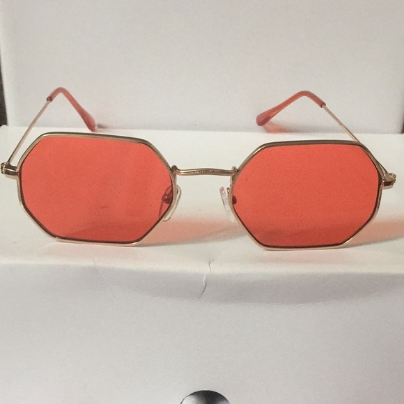 9b76c572c0ac Red and gold frame hexagon geometric sunglasses